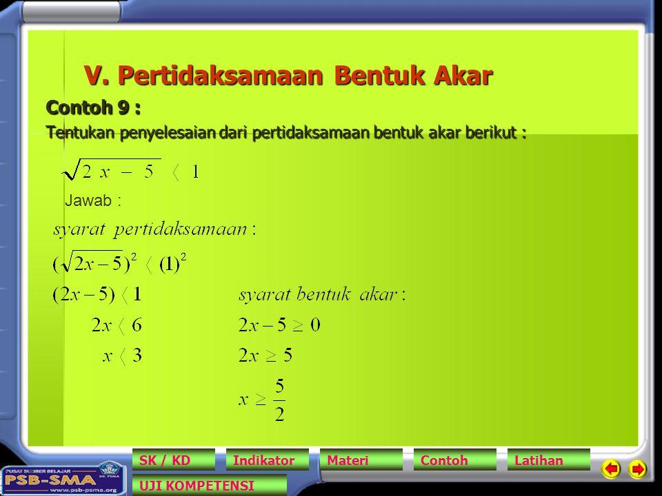 V. Pertidaksamaan Bentuk Akar Contoh 9 : Tentukan penyelesaian dari pertidaksamaan bentuk akar berikut : Jawab : SK / KDIndikatorMateriContohLatihan U