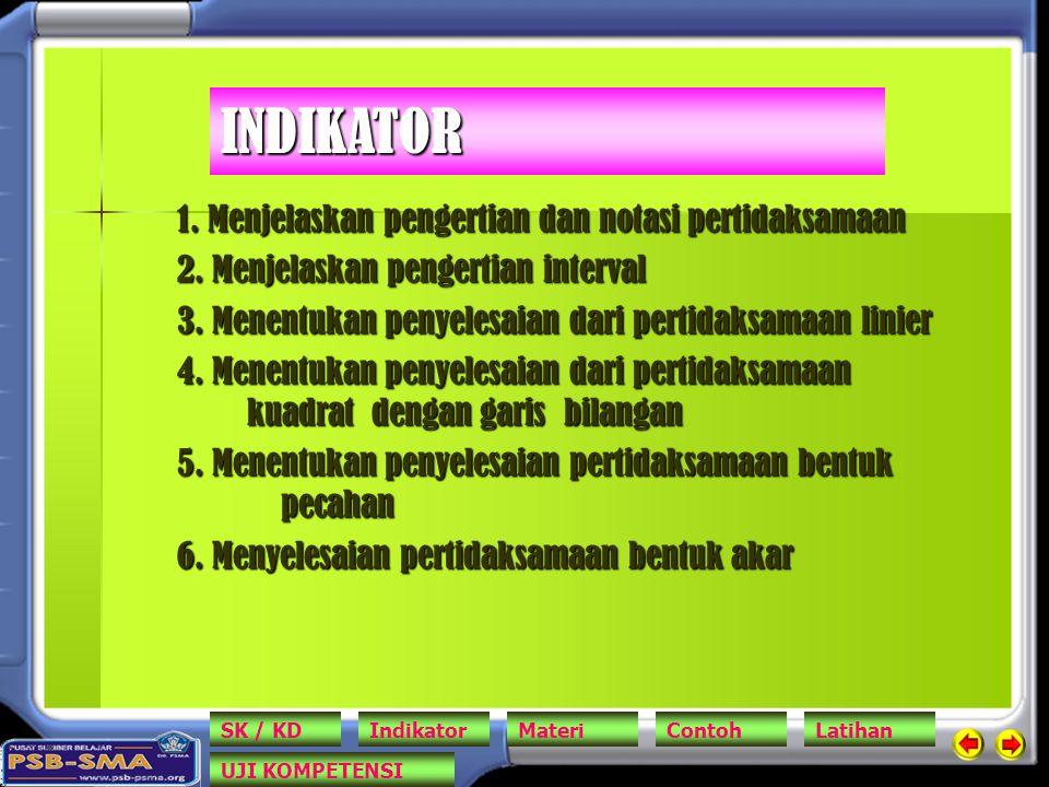 1. Menjelaskan pengertian dan notasi pertidaksamaan 2. Menjelaskan pengertian interval 3. Menentukan penyelesaian dari pertidaksamaan linier 4. Menent