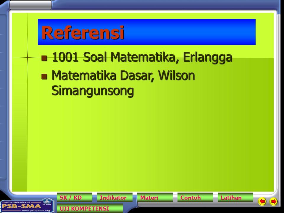 Referensi 1001 Soal Matematika, Erlangga 1001 Soal Matematika, Erlangga Matematika Dasar, Wilson Simangunsong Matematika Dasar, Wilson Simangunsong SK / KDIndikatorMateriContohLatihan UJI KOMPETENSI