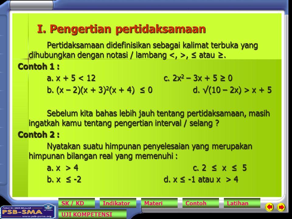 I. Pengertian pertidaksamaan Pertidaksamaan didefinisikan sebagai kalimat terbuka yang dihubungkan dengan notasi / lambang, ≤ atau ≥. Contoh 1 : a. x
