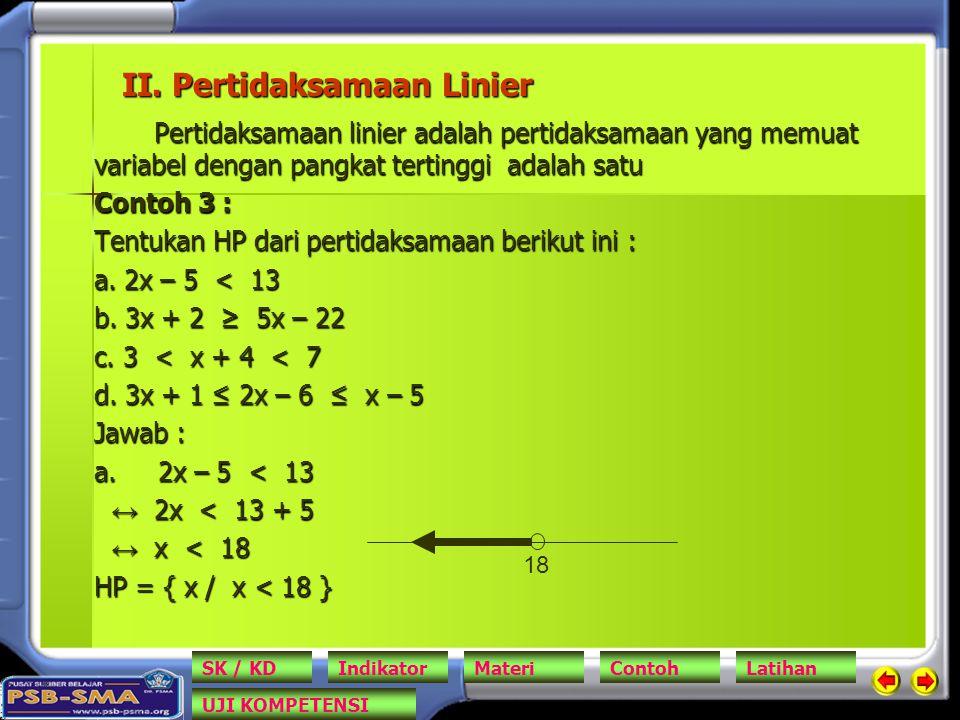 II. Pertidaksamaan Linier Pertidaksamaan linier adalah pertidaksamaan yang memuat variabel dengan pangkat tertinggi adalah satu Contoh 3 : Tentukan HP