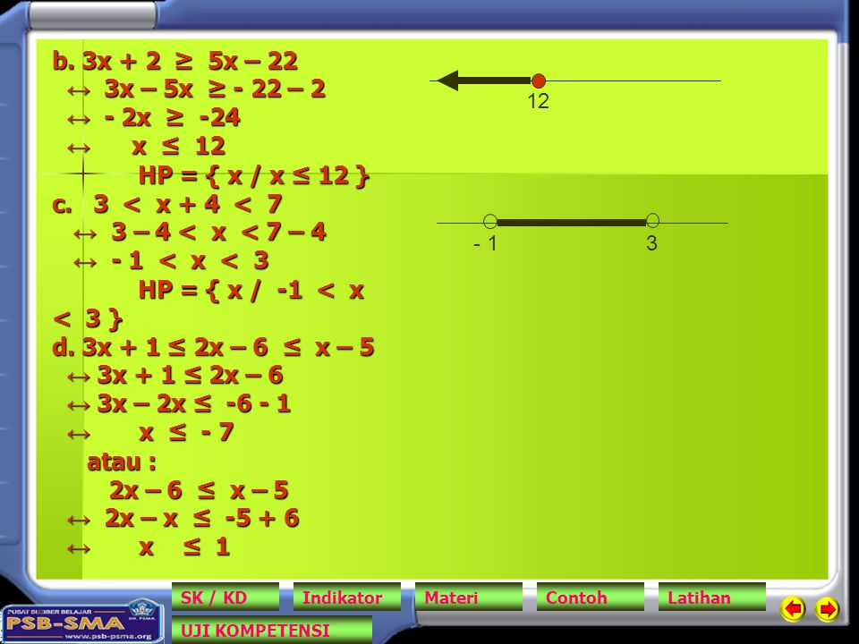 b.3x + 2 ≥ 5x – 22 ↔ 3x – 5x ≥ - 22 – 2 ↔ - 2x ≥ -24 ↔ x ≤ 12 HP = { x / x ≤ 12 } c.