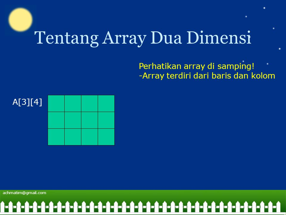 achmatim@gmail.com Tentang Array Dua Dimensi A[3][4] Perhatikan array di samping.