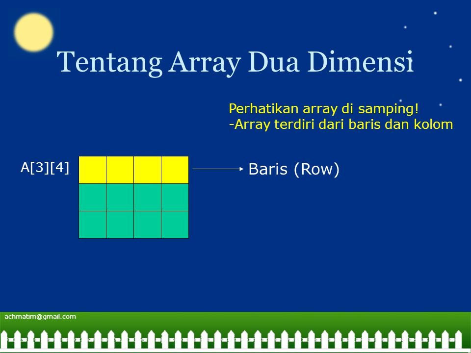 achmatim@gmail.com Tentang Array Dua Dimensi A[3][4] Baris (Row) Perhatikan array di samping.