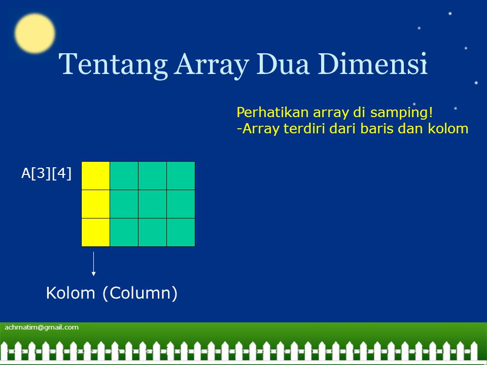 achmatim@gmail.com Tentang Array Dua Dimensi A[3][4] Kolom (Column) Perhatikan array di samping.