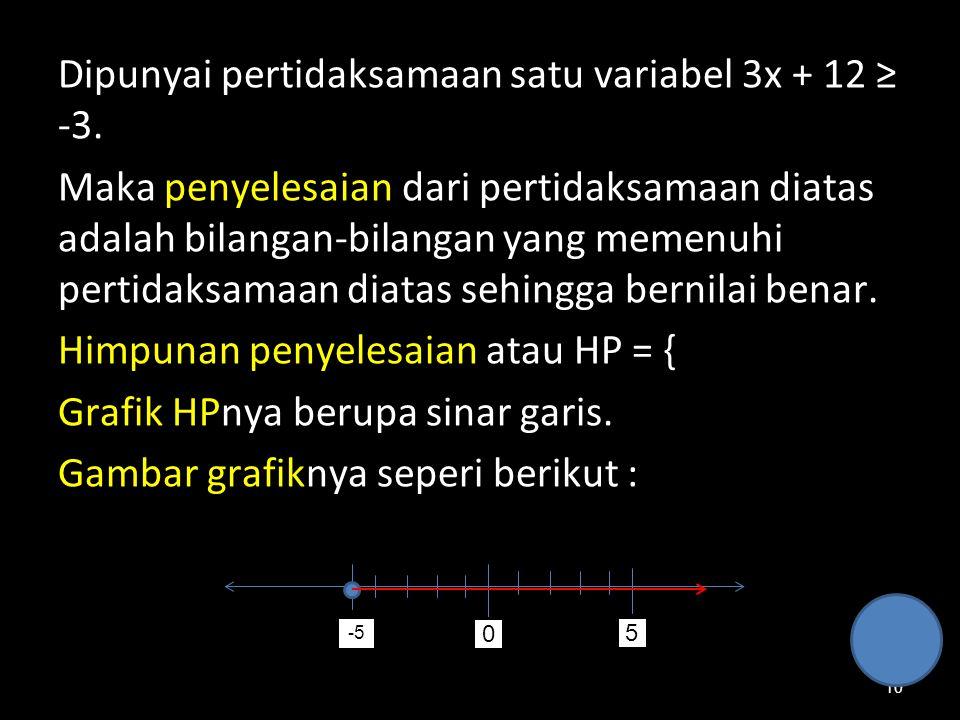 10 Dipunyai pertidaksamaan satu variabel 3x + 12 ≥ -3. Maka penyelesaian dari pertidaksamaan diatas adalah bilangan-bilangan yang memenuhi pertidaksam