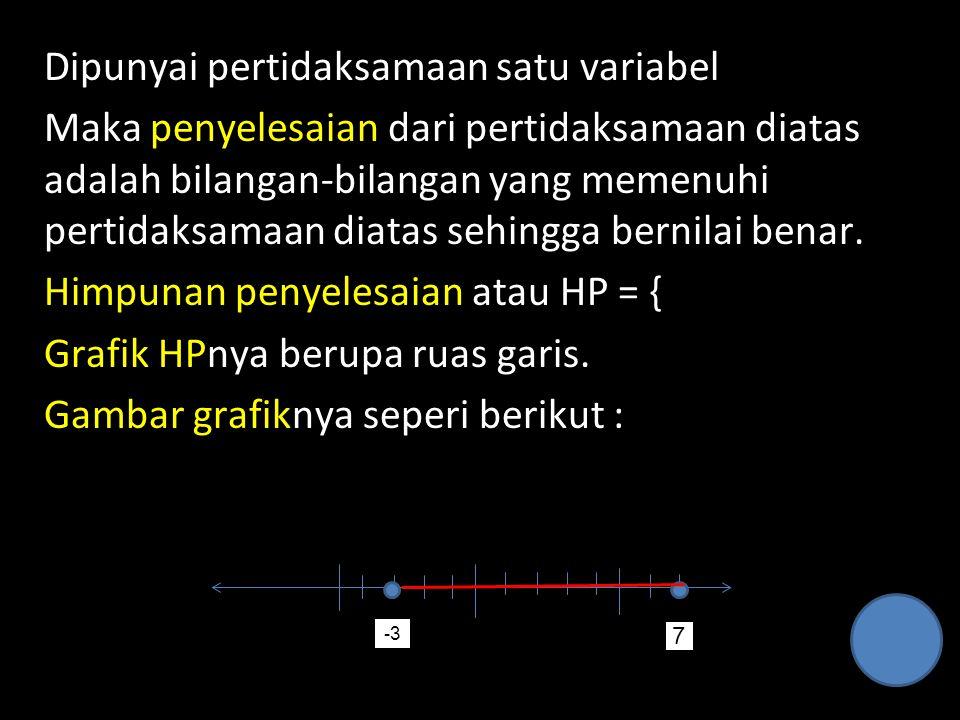 Dipunyai pertidaksamaan satu variabel Maka penyelesaian dari pertidaksamaan diatas adalah bilangan-bilangan yang memenuhi pertidaksamaan diatas sehing