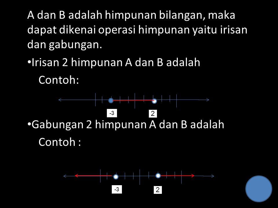 A dan B adalah himpunan bilangan, maka dapat dikenai operasi himpunan yaitu irisan dan gabungan. Irisan 2 himpunan A dan B adalah Contoh: Gabungan 2 h