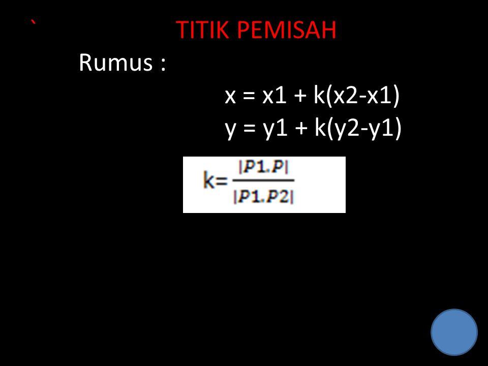 `TITIK PEMISAH Rumus : x = x1 + k(x2-x1) y = y1 + k(y2-y1)