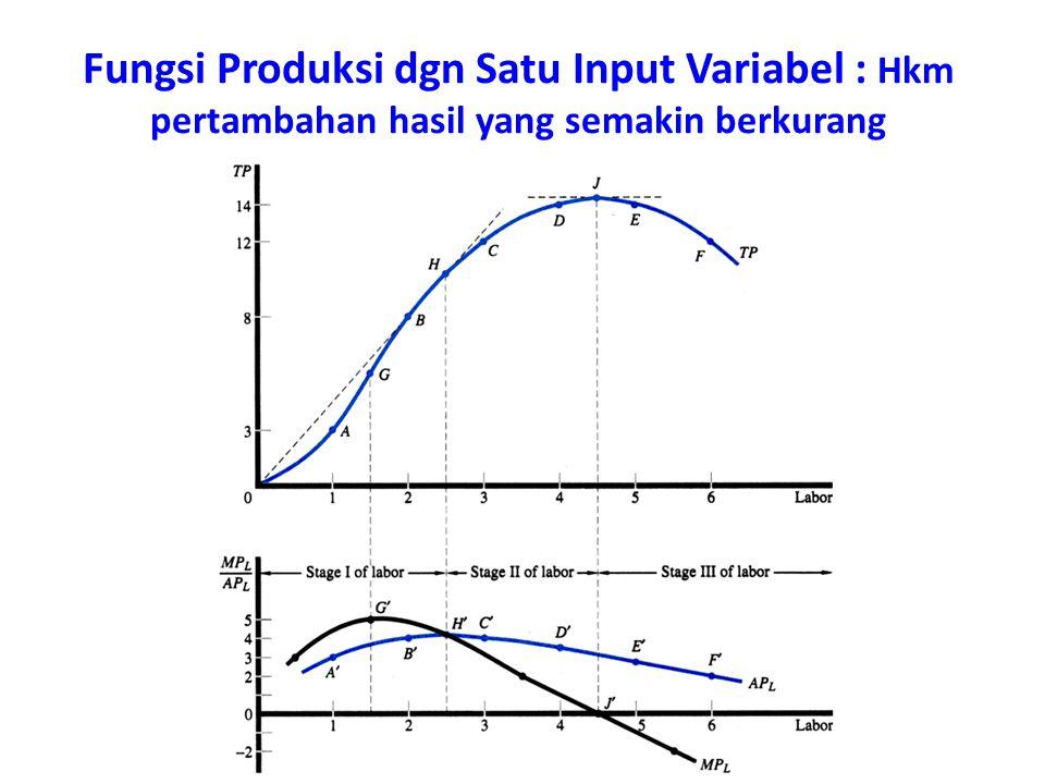 Fungsi Produksi dgn Satu Input Variabel : Hkm pertambahan hasil yang semakin berkurang
