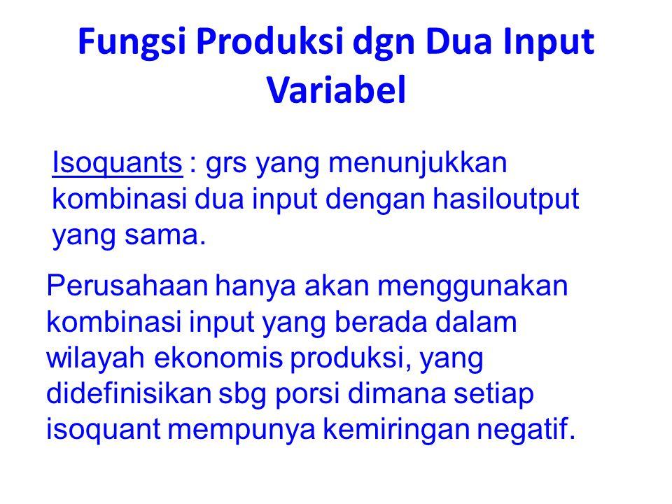 Fungsi Produksi dgn Dua Input Variabel Isoquants : grs yang menunjukkan kombinasi dua input dengan hasiloutput yang sama. Perusahaan hanya akan menggu