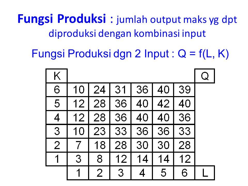 Fungsi Produksi : jumlah output maks yg dpt diproduksi dengan kombinasi input Fungsi Produksi dgn 2 Input : Q = f(L, K)