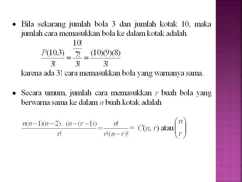  C(n, r) sering dibaca n diambil r , artinya r objek diambil dari n buah objek.