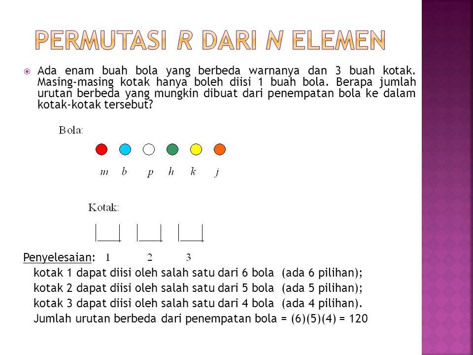 Bukti: Ada n buah bola yang berbeda warnanya dan r buah kotak (r  n), maka:  kotak ke-1 dapat diisi oleh salah satu dari n bola  (ada n pilihan) ;  kotak ke-2 dapat diisi oleh salah satu dari (n – 1) bola  (ada n – 1) pilihan;  kotak ke-3 dapat diisi oleh salah satu dari (n – 2) bola  (ada n – 2) pilihan; …  kotak ke-r dapat diisi oleh salah satu dari (n – (r – 1) bola  (ada n – r + 1 pilihan) Jumlah urutan berbeda dari penempatan bola adalah: n(n – 1)(n – 2)…(n – (r – 1)) = = Jadi : P(n,r) = Teorema Banyaknya permutasi r dari n unsur yang berbeda adalah P(n, r) =