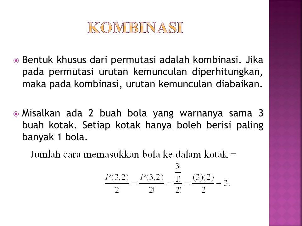  Bentuk khusus dari permutasi adalah kombinasi. Jika pada permutasi urutan kemunculan diperhitungkan, maka pada kombinasi, urutan kemunculan diabaika