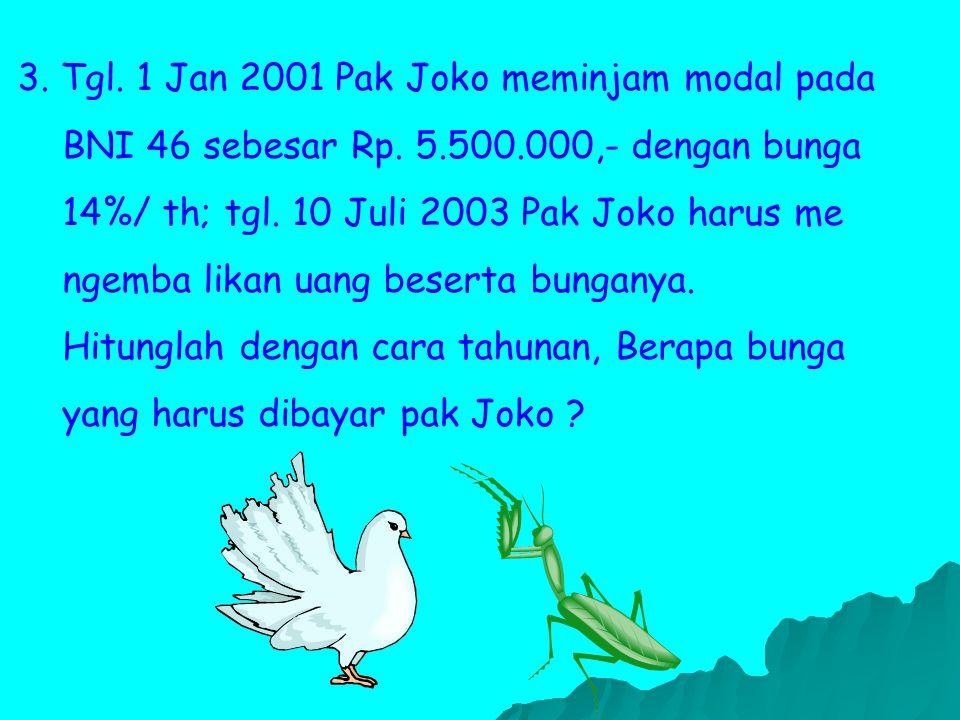 3.Tgl. 1 Jan 2001 Pak Joko meminjam modal pada BNI 46 sebesar Rp.