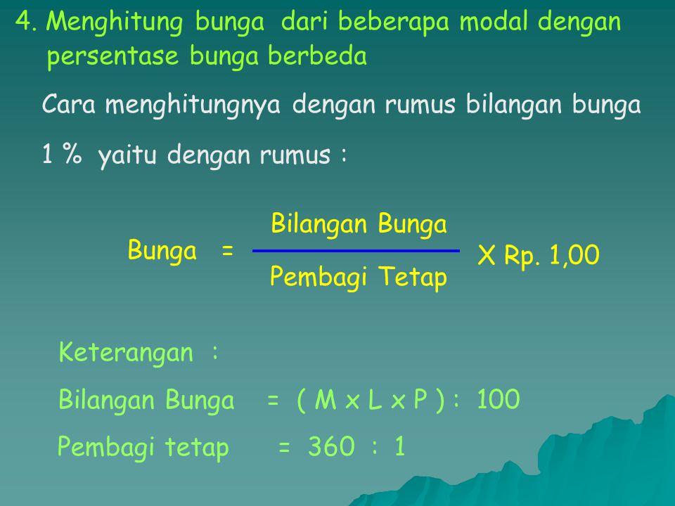 Pembagi Tetap = 360 P 12 = = 30 Bunga = 2.250.000 30 X Rp. 1,00 = Rp. 75.000 Jadi Bunga yang diterima Pak Joko seb. Rp. 75.000,-