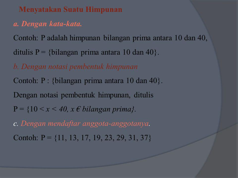 Menyatakan Suatu Himpunan a. Dengan kata-kata. Contoh: P adalah himpunan bilangan prima antara 10 dan 40, ditulis P = {bilangan prima antara 10 dan 40