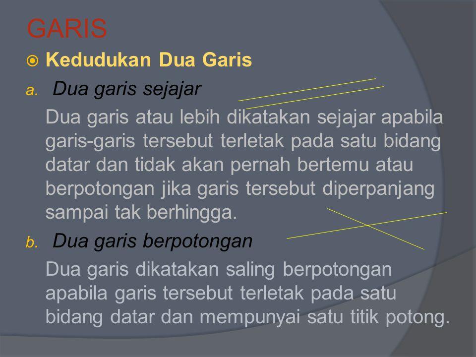 GARIS KKedudukan Dua Garis a. Dua garis sejajar Dua garis atau lebih dikatakan sejajar apabila garis-garis tersebut terletak pada satu bidang datar