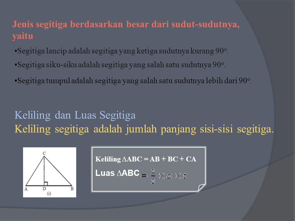 Jenis segitiga berdasarkan besar dari sudut-sudutnya, yaitu. Segitiga siku-siku adalah segitiga yang salah satu sudutnya 90 o. Segitiga lancip adalah