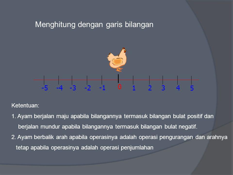 Menghitung dengan garis bilangan 1 0 2 -2 3 -34 -4 5 -5 Ketentuan: 1. Ayam berjalan maju apabila bilangannya termasuk bilangan bulat positif dan berja