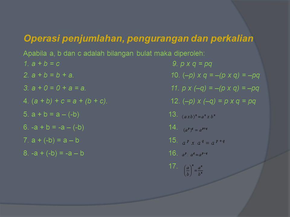 Operasi penjumlahan, pengurangan dan perkalian Apabila a, b dan c adalah bilangan bulat maka diperoleh: 1. a + b = c 9. p x q = pq 2. a + b = b + a. 1