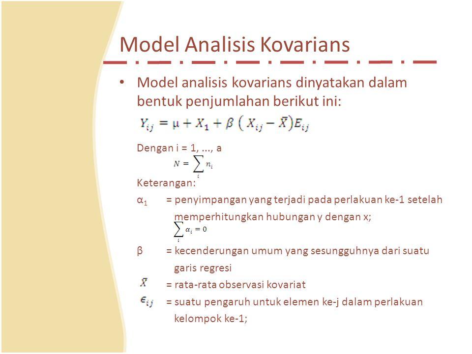 Model Analisis Kovarians Model analisis kovarians dinyatakan dalam bentuk penjumlahan berikut ini: Dengan i = 1,..., a Keterangan: α 1 = penyimpangan yang terjadi pada perlakuan ke-1 setelah memperhitungkan hubungan y dengan x; β= kecenderungan umum yang sesungguhnya dari suatu garis regresi = rata-rata observasi kovariat = suatu pengaruh untuk elemen ke-j dalam perlakuan kelompok ke-1;