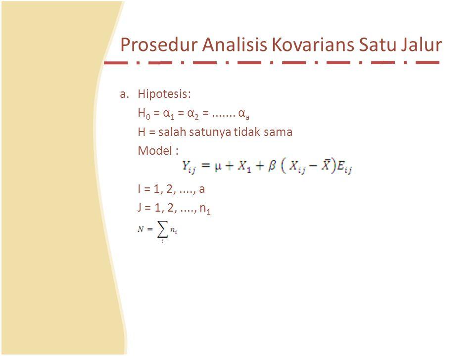Prosedur Analisis Kovarians Satu Jalur a.Hipotesis: H 0 = α 1 = α 2 =.......