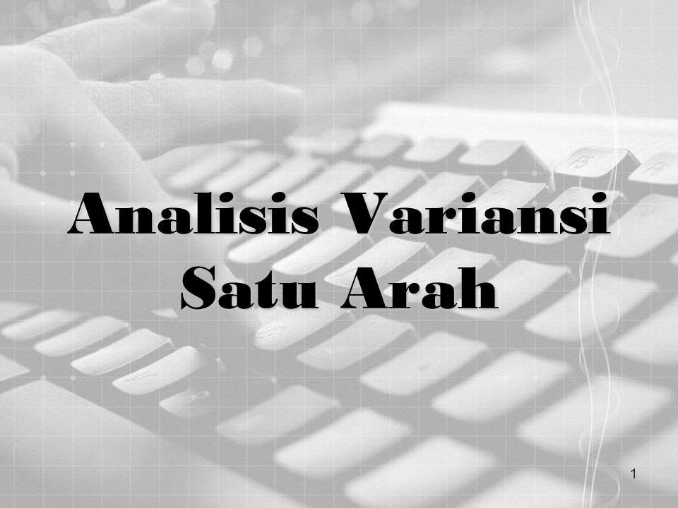 2 Analisis Variansi Analisa variansi (ANOVA) adalah suatu metoda untuk menguji hipotesis kesamaan rata-rata dari tiga atau lebih populasi.