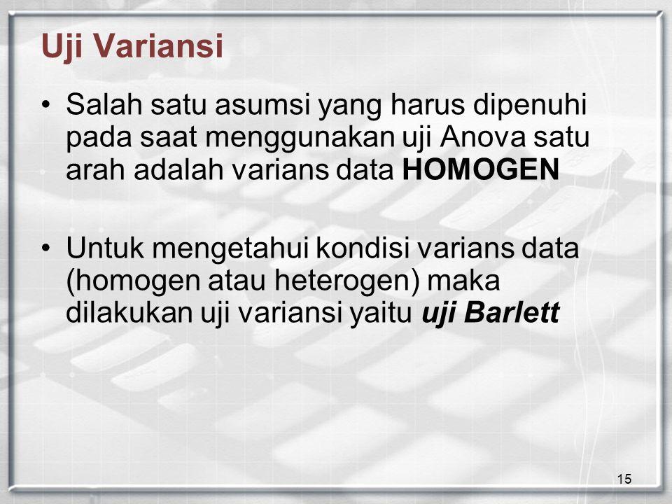 15 Uji Variansi Salah satu asumsi yang harus dipenuhi pada saat menggunakan uji Anova satu arah adalah varians data HOMOGEN Untuk mengetahui kondisi v