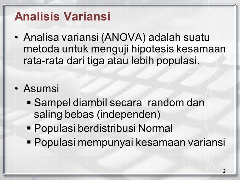2 Analisis Variansi Analisa variansi (ANOVA) adalah suatu metoda untuk menguji hipotesis kesamaan rata-rata dari tiga atau lebih populasi. Asumsi  Sa