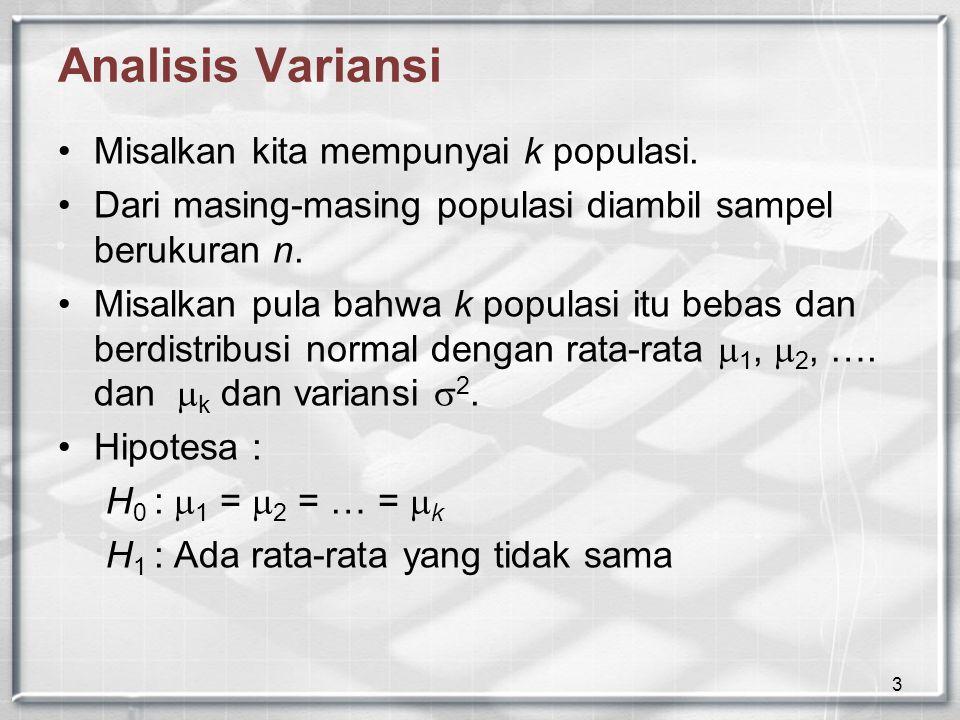 4 Analisis Variansi Populasi Total 12…i…k x 11 x 21 …xi1xi1 …Xk1Xk1 x 12 x 22 …xi2xi2 …Xk2Xk2 :::::: x1nx1n x2nx2n …x in …x kn TotalT1T1 T2T2 …TiTi …TkTk T  T i  adalah total semua pengamatan dari populasi ke-i T  adalah total semua pengamatan dari semua populasi
