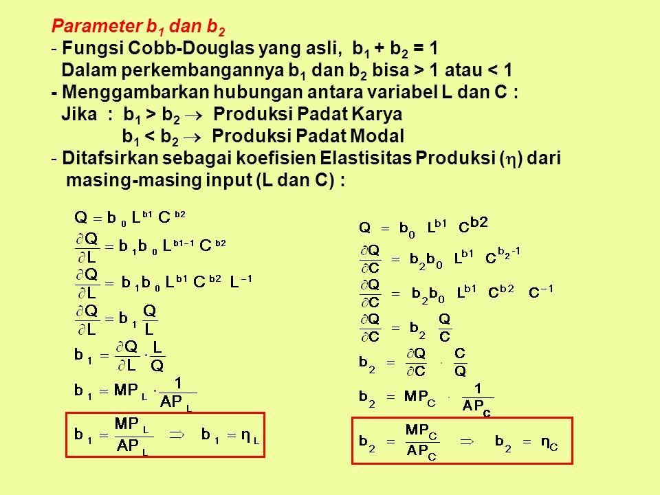 Fungsi Cobb-Douglas (1928) Untuk memperjelas ketiga konsep di atas fungsi Cobb-Douglas sangat membantu : Q = f(L, C) Q = b 0 L b1 C b2 Keterangan Para