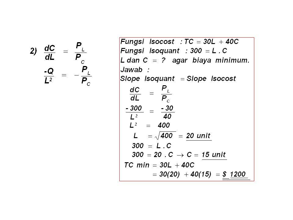 Misalnya : Q = L. C ; TC = P L.L + P C.C, maka LCC terjadi jika :