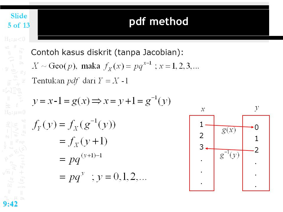 Slide 5 of 139:42 pdf method Contoh kasus diskrit (tanpa Jacobian): 123...123... 012...012...