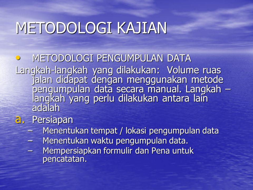 METODOLOGI KAJIAN METODOLOGI PENGUMPULAN DATA METODOLOGI PENGUMPULAN DATA Langkah-langkah yang dilakukan:Volume ruas jalan didapat dengan menggunakan metode pengumpulan data secara manual.