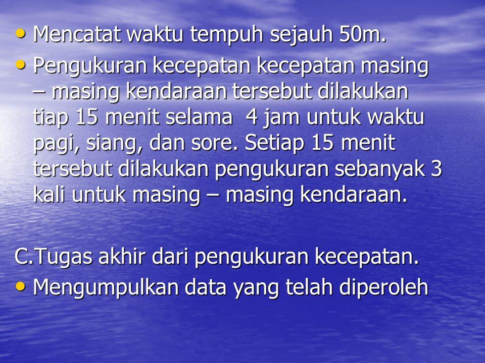 PENUTUP Berdasarkan data lapangan dan analisis data volume ruas jalan dan kecepatan sesaat yang diperoleh di Jalan Wates km5, Yogyakarta maka dapat disimpulkan bahwa : Berdasarkan data lapangan dan analisis data volume ruas jalan dan kecepatan sesaat yang diperoleh di Jalan Wates km5, Yogyakarta maka dapat disimpulkan bahwa : 1.Jam puncak pagi pada pukul 06.30-07.30, dengan kecepatan sesaat masing-masing kendaraan sebagai berikut : –Kendaraan berat, V = 41,85 km/jam –Kendaraan Ringan V = 43,5 km/jam –Sepeda Motor V = 44,55 km/jam –Kendaraan tak bermotor V = 14,86 km/jam