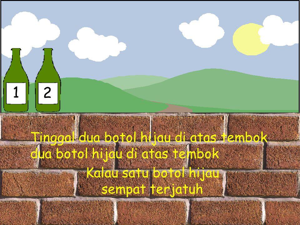 1 2 Tinggal dua botol hijau di atas tembok dua botol hijau di atas tembok Kalau satu botol hijau sempat terjatuh
