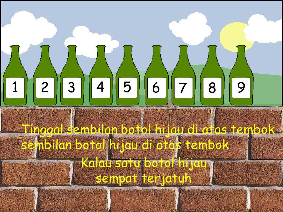 1 23 45 6 7 8 9 Tinggal sembilan botol hijau di atas tembok sembilan botol hijau di atas tembok Kalau satu botol hijau sempat terjatuh