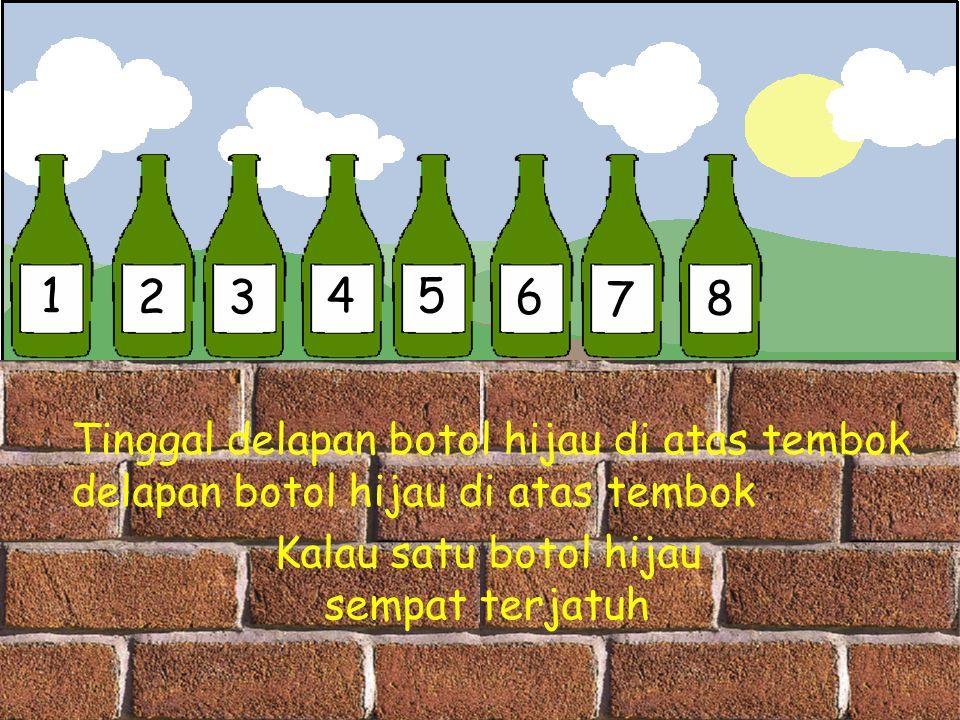 1 23 45 6 7 8 Tinggal delapan botol hijau di atas tembok delapan botol hijau di atas tembok Kalau satu botol hijau sempat terjatuh