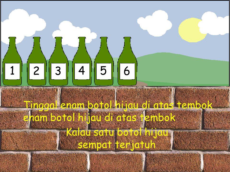 1 23 45 6 Tinggal enam botol hijau di atas tembok enam botol hijau di atas tembok Kalau satu botol hijau sempat terjatuh