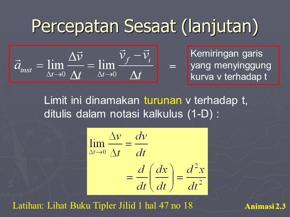 Percepatan Sesaat (lanjutan) = Kemiringan garis yang menyinggung kurva v terhadap t Limit ini dinamakan turunan v terhadap t, ditulis dalam notasi kal