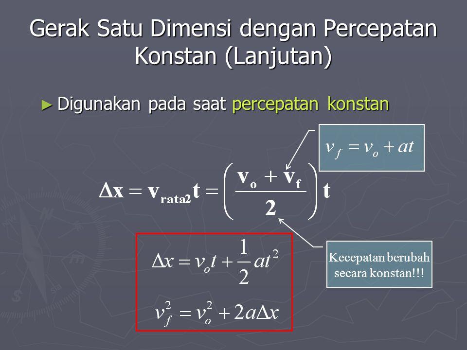 Gerak Satu Dimensi dengan Percepatan Konstan (Lanjutan) ► Digunakan pada saat percepatan konstan Kecepatan berubah secara konstan!!!