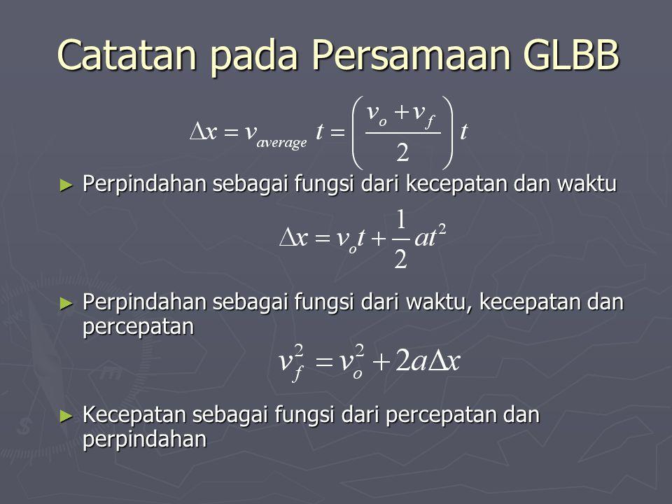 Catatan pada Persamaan GLBB ► Perpindahan sebagai fungsi dari kecepatan dan waktu ► Perpindahan sebagai fungsi dari waktu, kecepatan dan percepatan ►