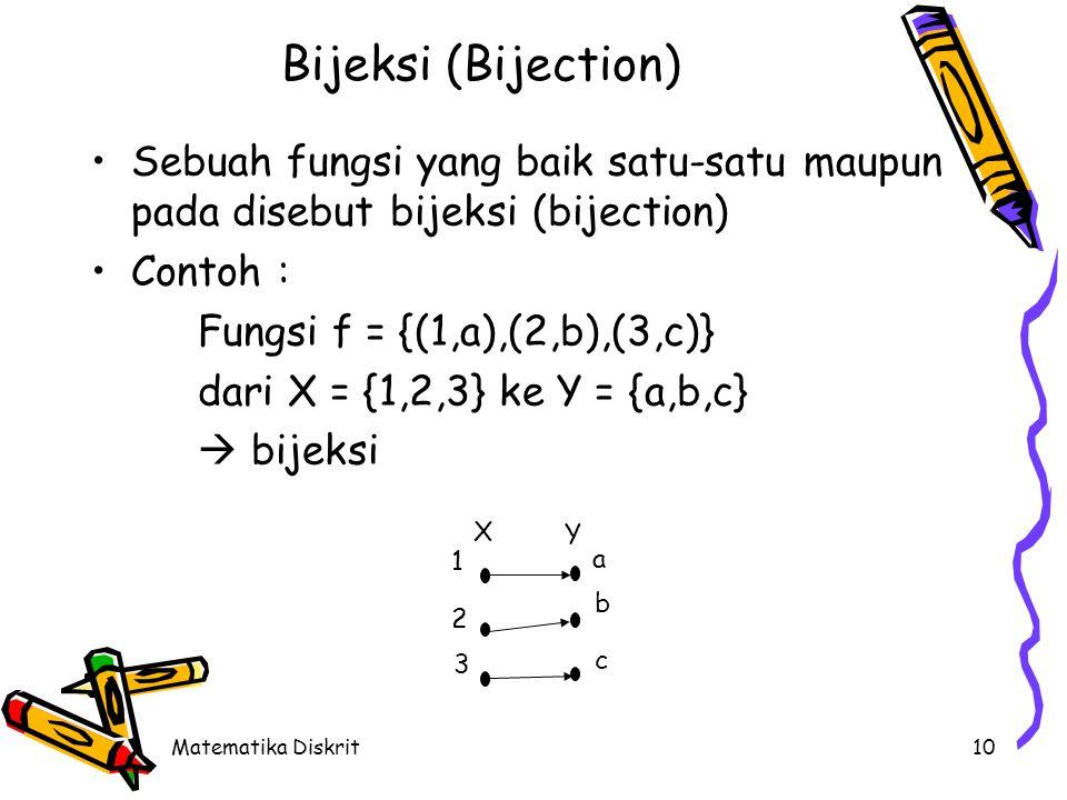 Matematika Diskrit10 Bijeksi (Bijection) Sebuah fungsi yang baik satu-satu maupun pada disebut bijeksi (bijection) Contoh : Fungsi f = {(1,a),(2,b),(3,c)} dari X = {1,2,3} ke Y = {a,b,c}  bijeksi 1 2 3 a b c X Y