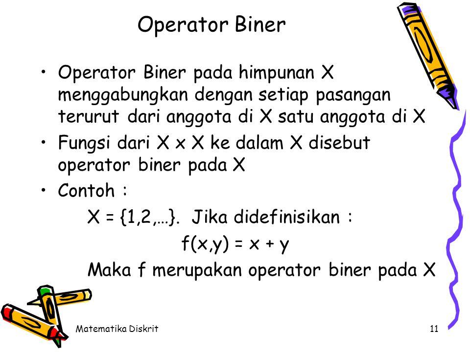 Matematika Diskrit11 Operator Biner Operator Biner pada himpunan X menggabungkan dengan setiap pasangan terurut dari anggota di X satu anggota di X Fungsi dari X x X ke dalam X disebut operator biner pada X Contoh : X = {1,2,…}.
