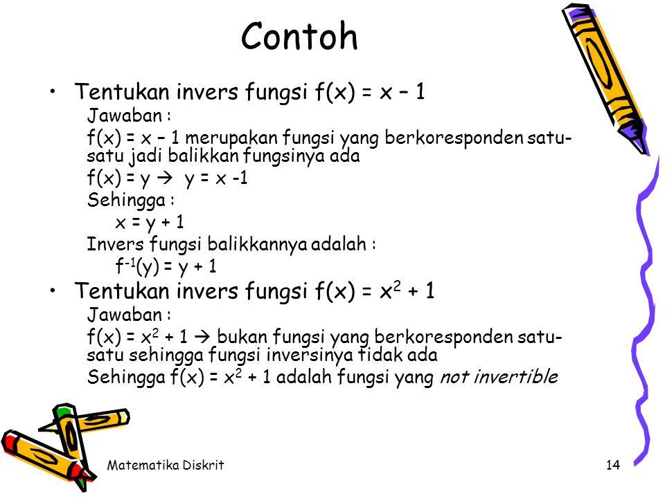 Matematika Diskrit14 Contoh Tentukan invers fungsi f(x) = x – 1 Jawaban : f(x) = x – 1 merupakan fungsi yang berkoresponden satu- satu jadi balikkan fungsinya ada f(x) = y  y = x -1 Sehingga : x = y + 1 Invers fungsi balikkannya adalah : f -1 (y) = y + 1 Tentukan invers fungsi f(x) = x 2 + 1 Jawaban : f(x) = x 2 + 1  bukan fungsi yang berkoresponden satu- satu sehingga fungsi inversinya tidak ada Sehingga f(x) = x 2 + 1 adalah fungsi yang not invertible