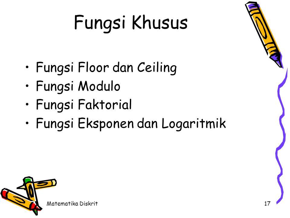Matematika Diskrit17 Fungsi Khusus Fungsi Floor dan Ceiling Fungsi Modulo Fungsi Faktorial Fungsi Eksponen dan Logaritmik