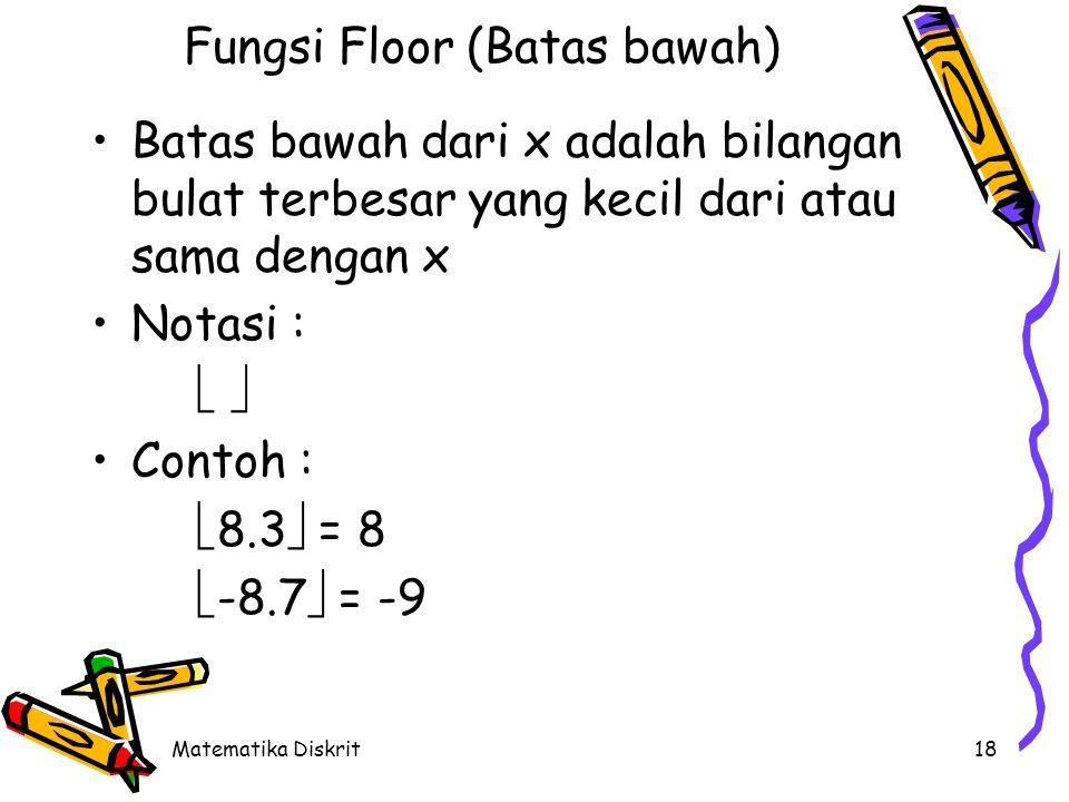 Matematika Diskrit18 Fungsi Floor (Batas bawah) Batas bawah dari x adalah bilangan bulat terbesar yang kecil dari atau sama dengan x Notasi :   Contoh :  8.3  = 8  -8.7  = -9