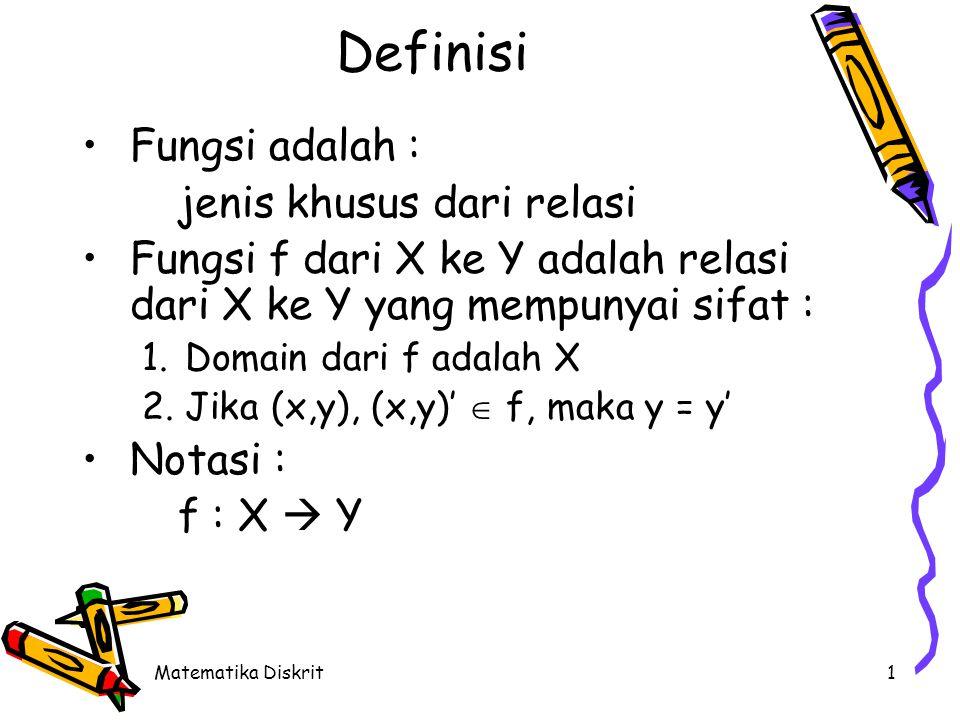 1 Definisi Fungsi adalah : jenis khusus dari relasi Fungsi f dari X ke Y adalah relasi dari X ke Y yang mempunyai sifat : 1.Domain dari f adalah X 2.Jika (x,y), (x,y)'  f, maka y = y' Notasi : f : X  Y